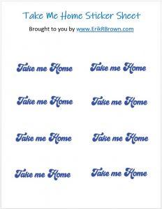 take me home sticker sheet